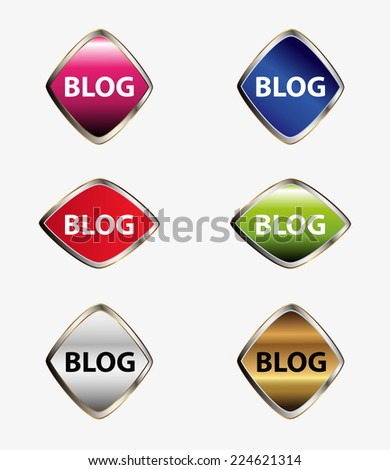 Blog icon stickers set  - stock vector