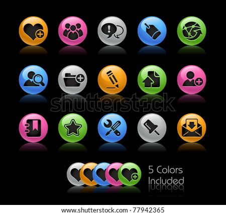 Blog & Internet Icons // Gelcolor Series -------It includes 5 color versions for each icon in different layers --------- - stock vector
