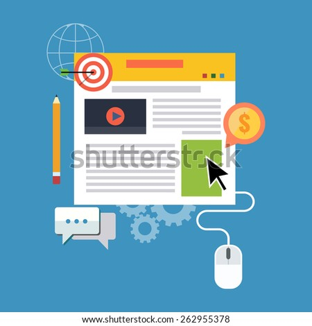 Blog management, blogging concept. Flat design stylish. Isolated on color background  - stock vector