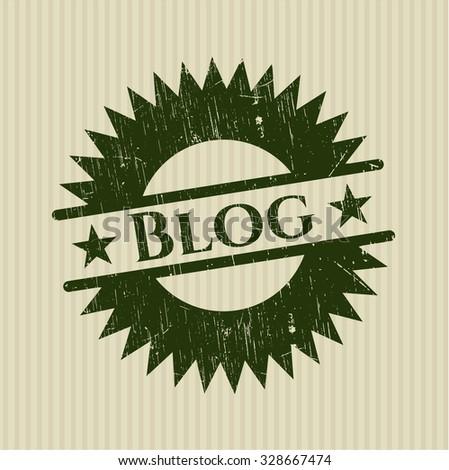 Blog rubber grunge texture stamp - stock vector