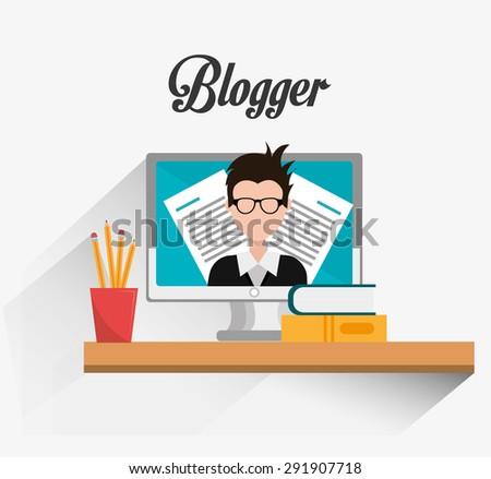 Blogger digital design, vector illustration eps 10. - stock vector