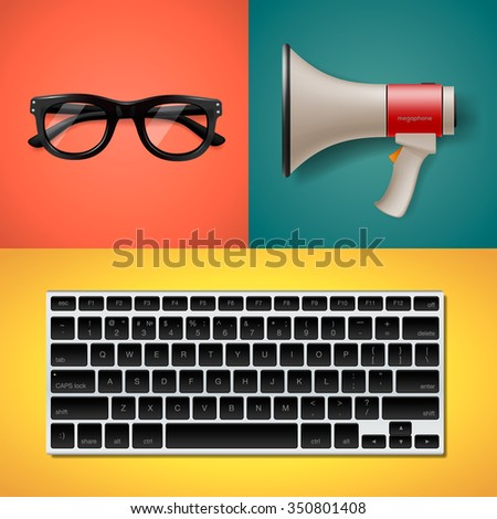 Blogging and writing for website, trendy objects in flat style, keyboard, megaphone and glasses, vector illustration. - stock vector