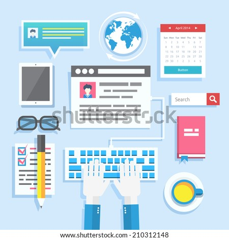 Blogging concept in flat design style. Blogging and writing for website blog - stock vector