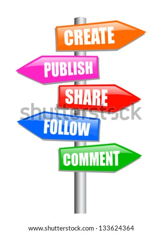 Blogging guidepost, vector clip art