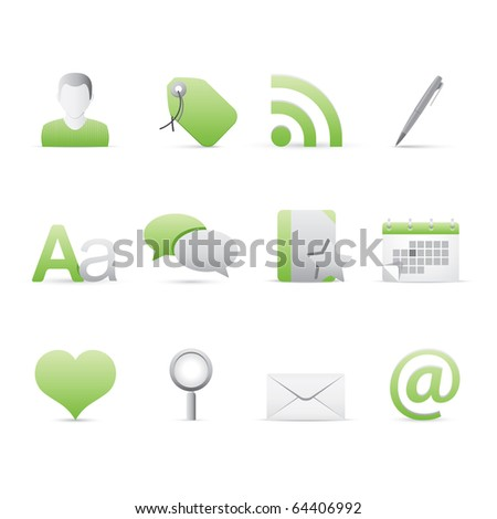Blogging icon set 4 � Bi Colored Series (Green and Gray).  Vector EPS 8 format, easy to edit.