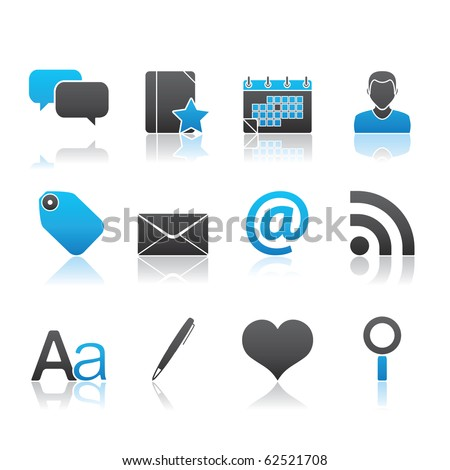 Blogging icon set 4 � Blue Series.  Vector EPS 8 format, easy to edit.