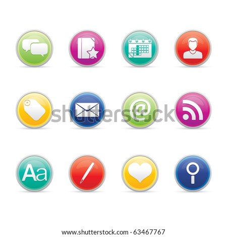 Blogging icon set 4-Colored Buttons Series.  Vector EPS 8 format, easy to edit. - stock vector