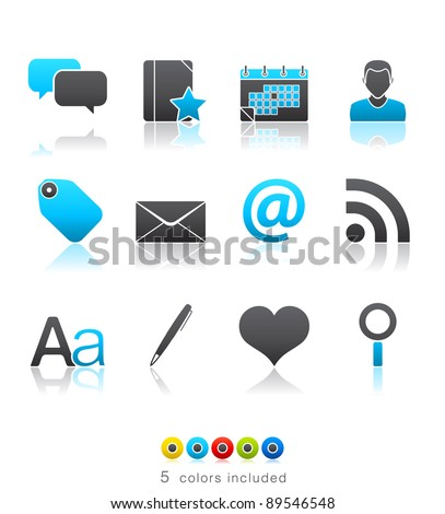 Blogging icon set 4 – Multi Color Series.  Icon set in EPS8 format with high resolution JPEG EPS file contains five color variations in different layers
