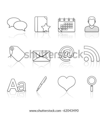 Blogging icon set 4 � Strokes Series.  Vector EPS 8 format, easy to edit. - stock vector