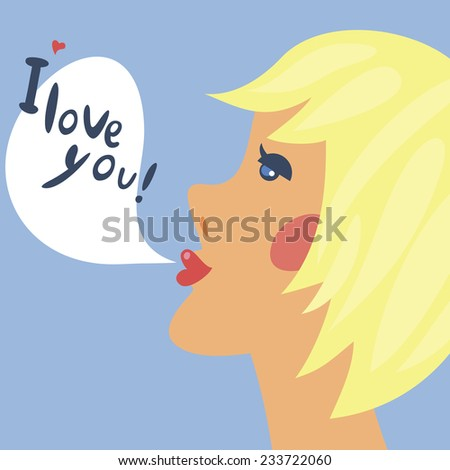 """Blond girl says """"I love you"""". Valentine's Day gift card. - stock vector"""