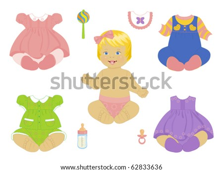blonde baby-girl with set of clothes - stock vector