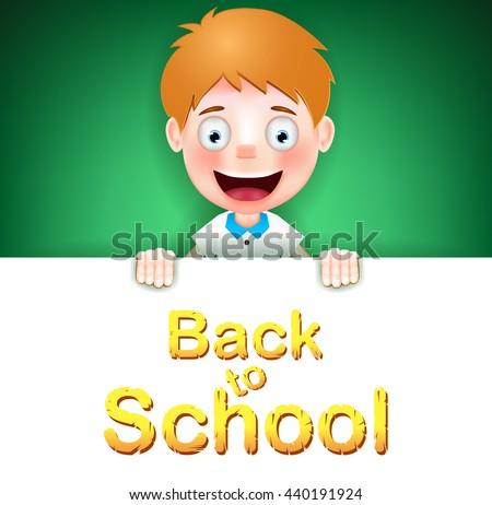 Blonde Boy Student Character Holding on Green Background with Back to School Tex. Vector Illustration  - stock vector