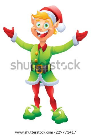 Blonde Christmas elf welcome with open welcoming hands isolated