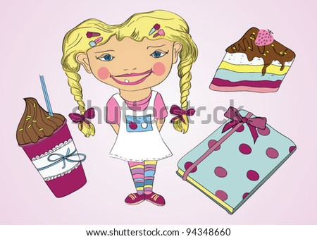 Blonde girl with cake, diary and coffee