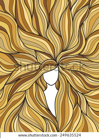 blonde hair doodle hand drawn woman - stock vector