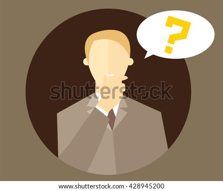 """Blonde man with a question mark. Person doubts. """"I don't know"""" expression. Making decision sign. Flat design. Vector illustration - stock vector"""