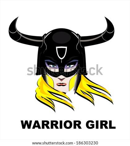 Blonde Warrior Girl - stock vector
