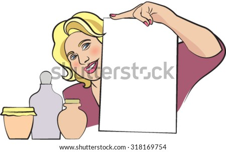 Blonde woman with bottles and white paper - stock vector