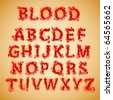 Blood alphabet - stock vector