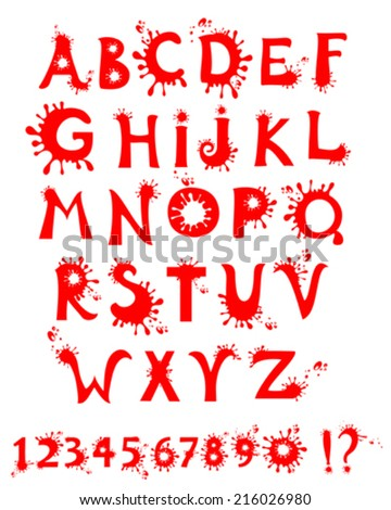 blood alphabet  isolated on white background. Vector illustration  - stock vector