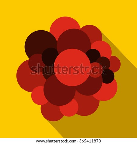 Blood cells flat icon on a yellow background - stock vector