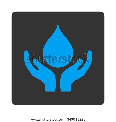 Blood Charity vector icon. Style is flat rounded square button, blue and gray colors, white background.