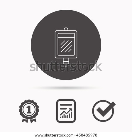Blood donation icon. Medicine drop counter sign. Report document, winner award and tick. Round circle button with icon. Vector - stock vector
