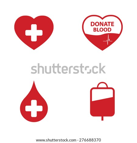 Blood Donation Icon Set - stock vector