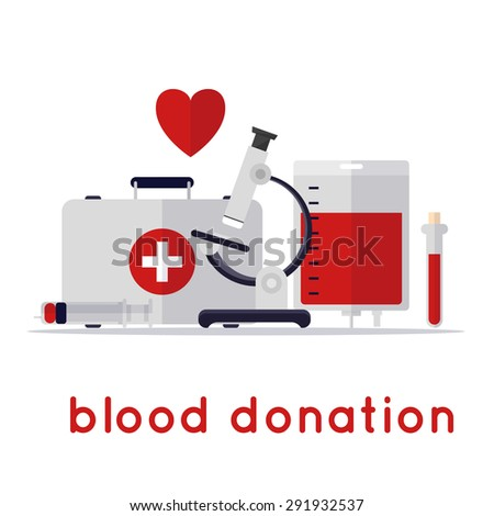 Blood donation icons flat style. Lab blood Admission.