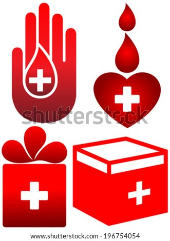blood donation icons set - stock vector