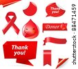 Blood Donation Set, Isolated On White Background, Vector Illustration - stock