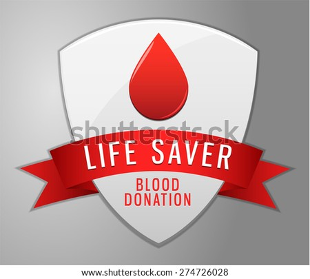 Blood donation shield - stock vector