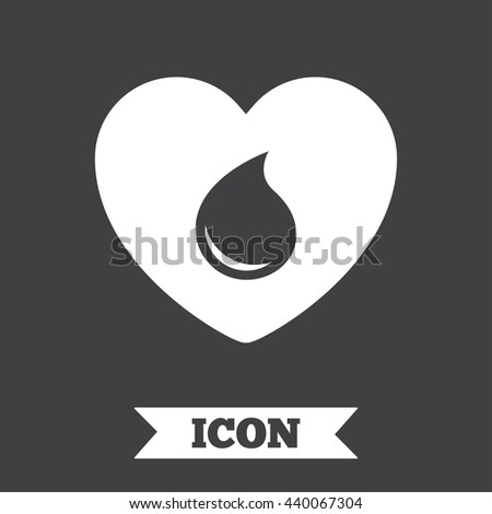 Blood donation sign icon. Medical donation. Heart with blood drop. Graphic design element. Flat blood symbol on dark background. Vector - stock vector