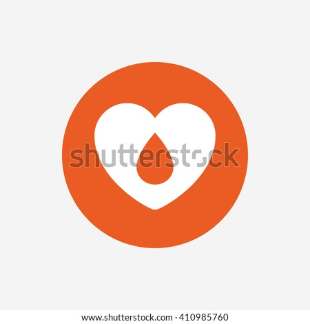 Blood donation sign icon. Medical donation. Heart with blood drop. Orange circle button with icon. Vector - stock vector