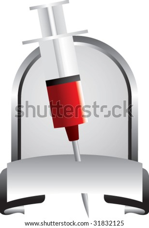 blood donation syringe in silver display - stock vector