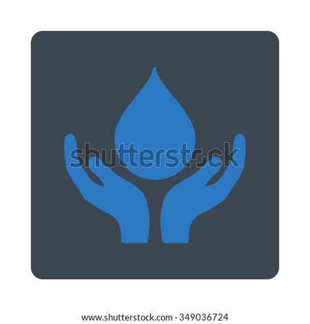 Blood Donation vector icon. Style is flat rounded square button, smooth blue colors, white background.