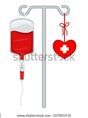 Blood donation with bag, drip holder and healthy heart. Save lives! Vector file saved as EPS AI8, no effects, easy print and edit.