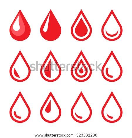 Blood Drop Emblem. Logo Template. Icon Set. Vector. - stock vector