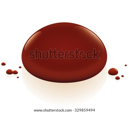 Blood drop. Isolated vector illustration over white background. - stock vector
