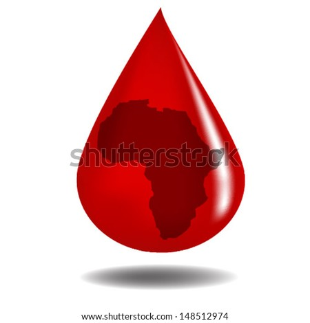 Blood drop with africa reflected/Blood drop/Conceptual vector design - stock vector