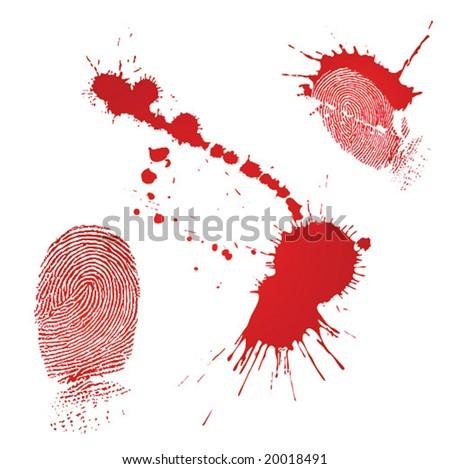 Blood drops and fingerprint - stock vector