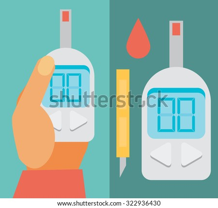 Blood Glucose Test. Diabetes Flat icon set. Hand holding Glucose Meter - stock vector