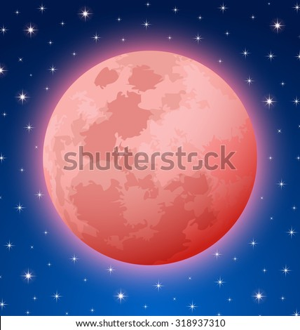 Blood Moon rare total lunar eclipse also known as Supermoon or Apocalyptic Moon on starry night sky background - stock vector