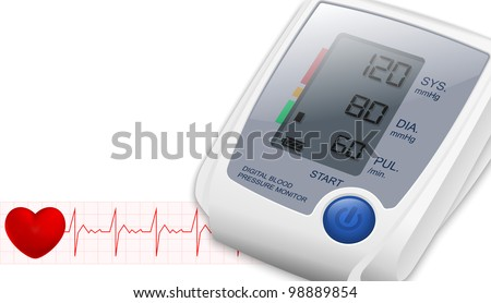 Blood Pressure Monitor with space for text and heartbeat. Vector - stock vector