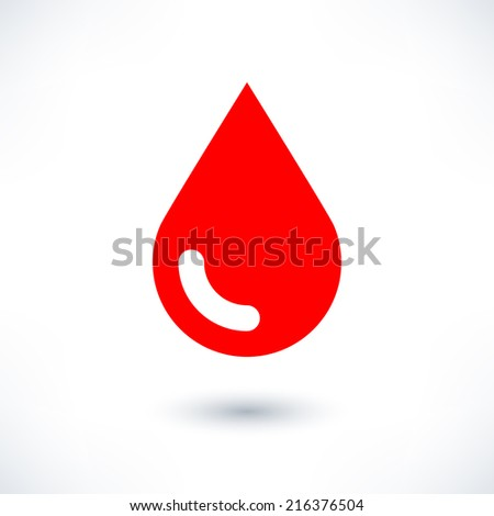 Blood red drop icon with gray shadow on white background. Medical sign in simple, solid, plain, flat style. This vector illustration graphic web design graphic element saved in 8 eps - stock vector