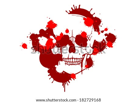 Blood smudges creating a skull silhouette - stock vector