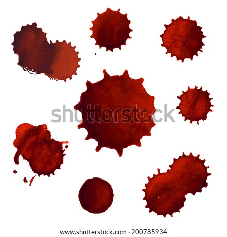 Blood Stains Big Set, Vector Illustration - stock vector