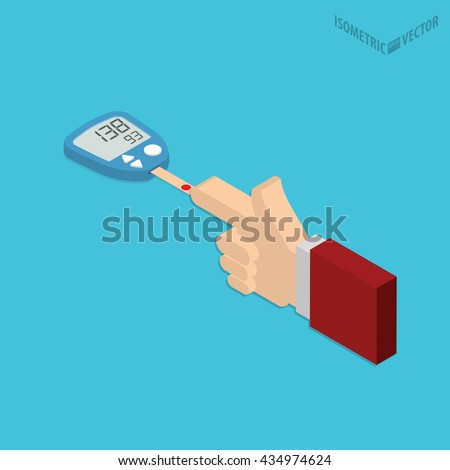 Blood sugar level monitoring with glucose meter flat design. Check your blood glucose level at home conceptual illustration. Diabetes screening. - stock vector