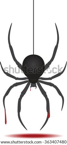 Bloody black spider. Vector illustration. Isolated.