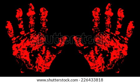 Bloody Hand Trace for your design. EPS10 vector. - stock vector